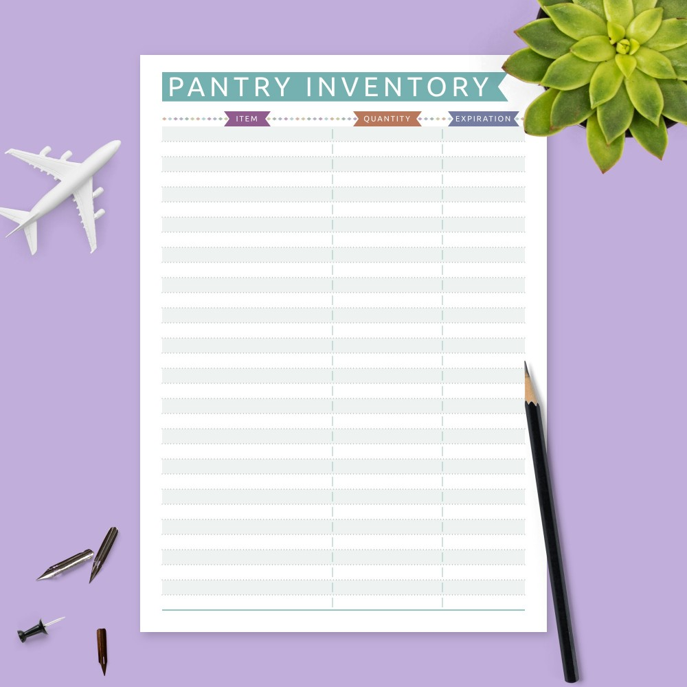 Download Printable Colored Pantry Inventory Template