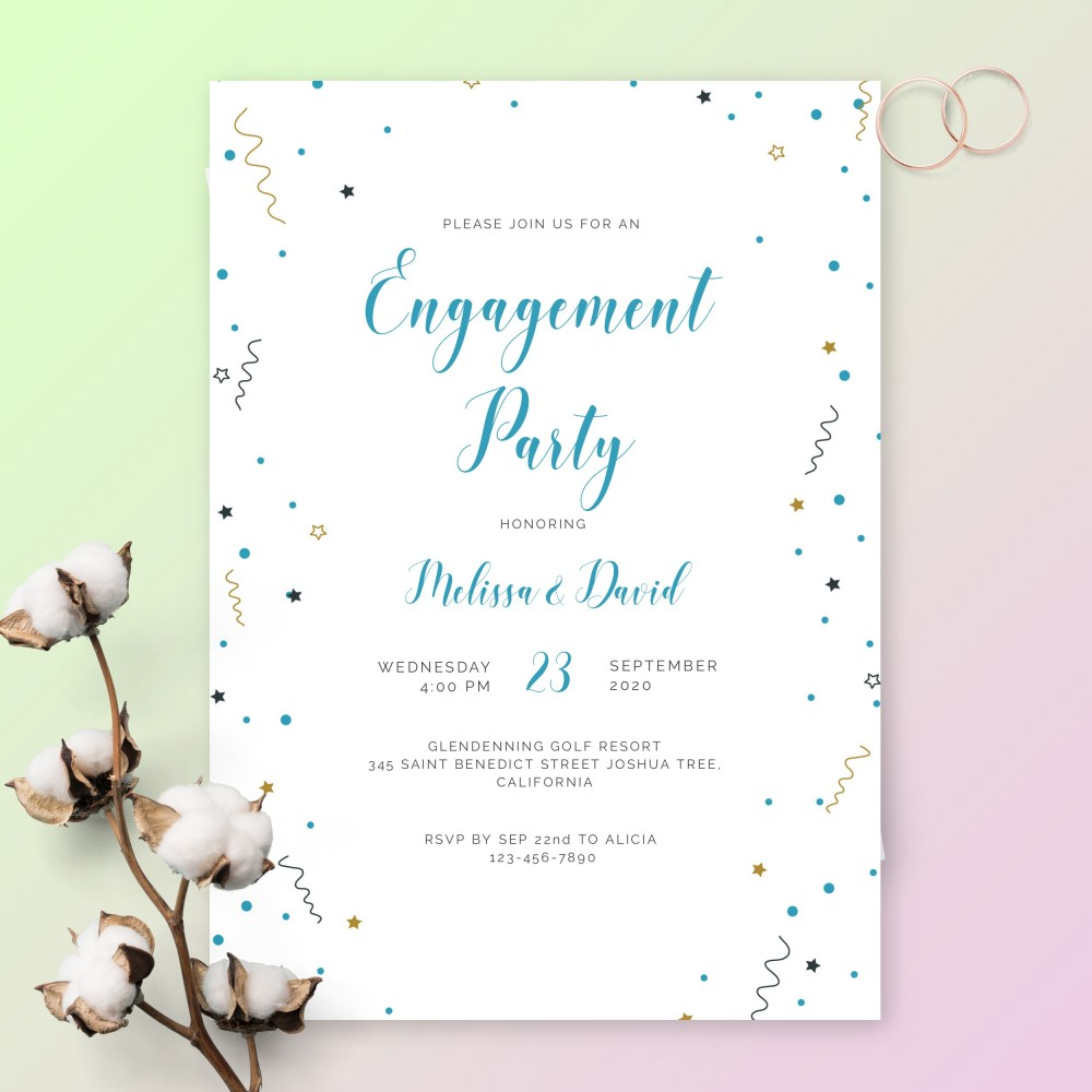 Customize and Download Colored Stars and Confetti Engagement Party Invitation