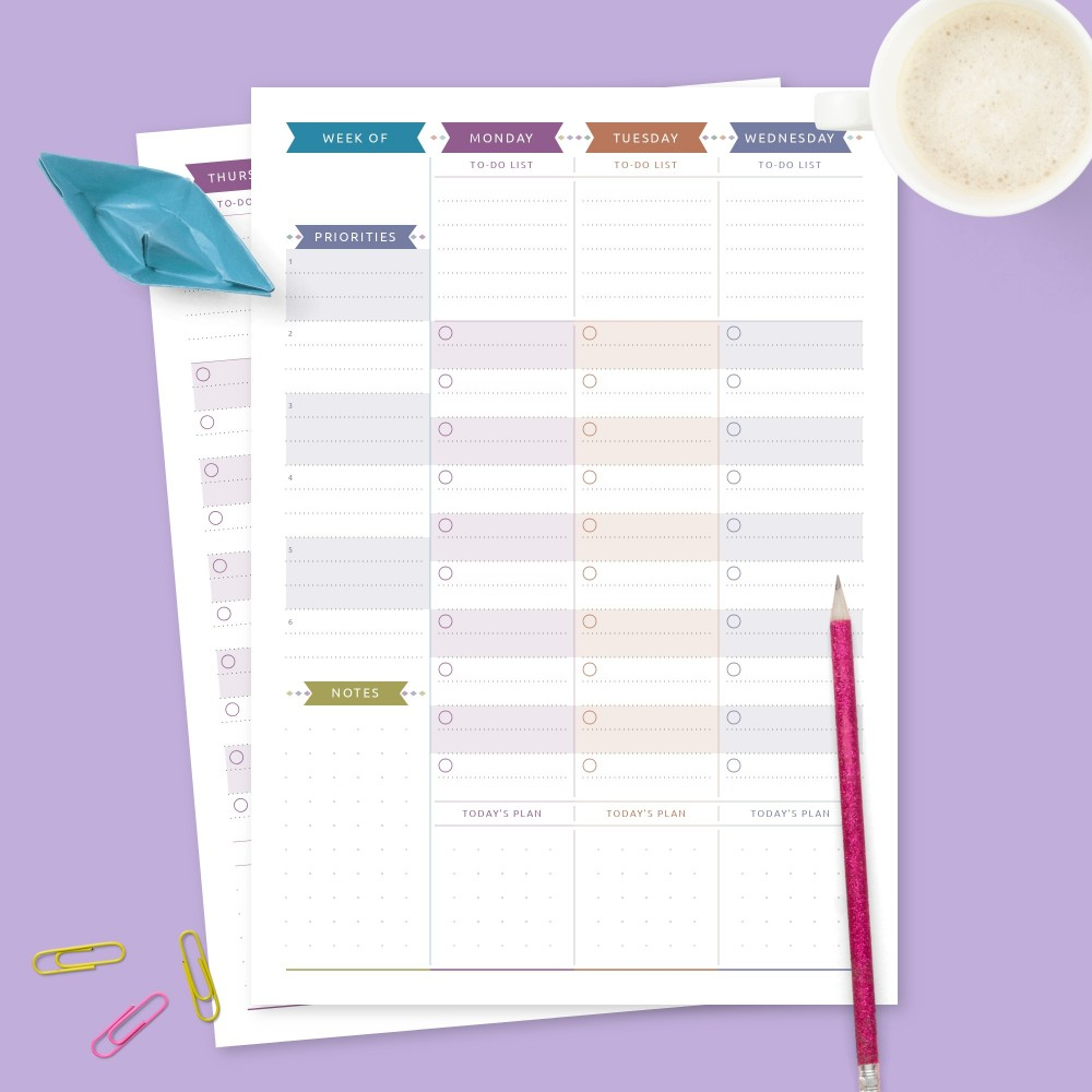 Download Printable Colored Weekly To-Do & Priorities Template