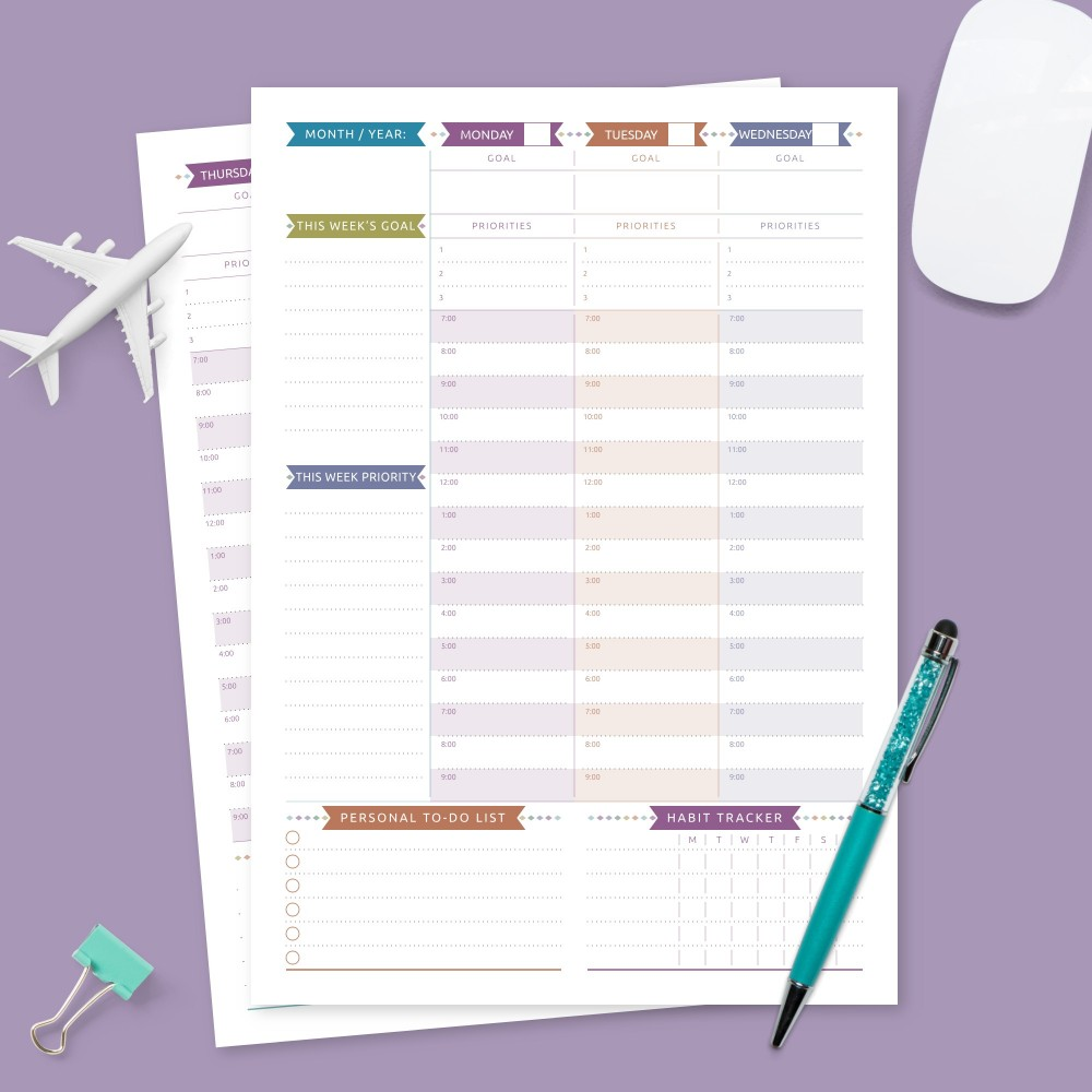 Download Printable Colored Weekly Planner Undated Template