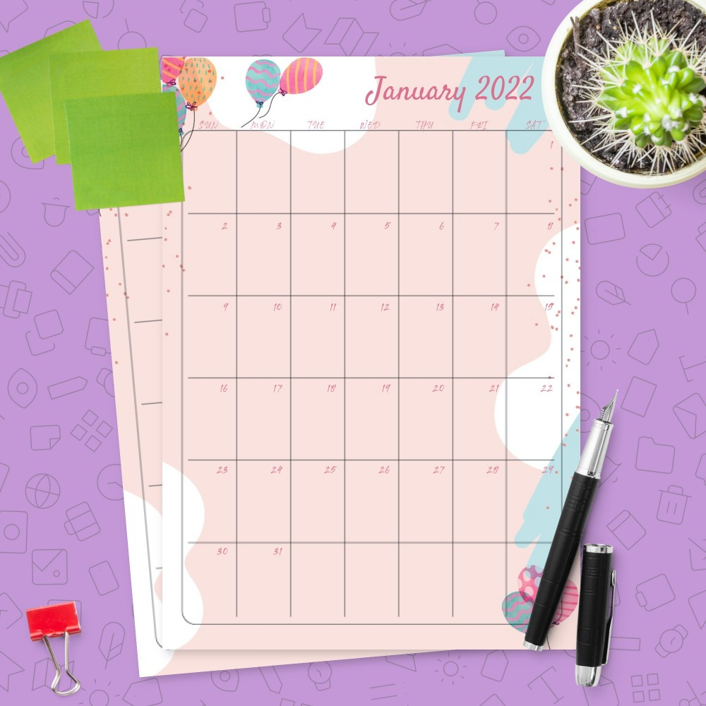 Download Printable Colorful Balloons Pink Birthday Calendar Template