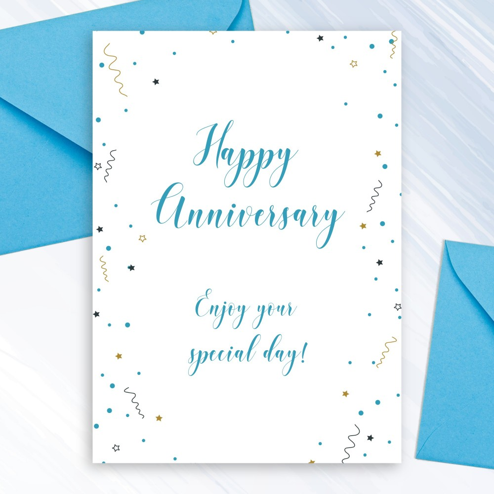 Customize and Download Colorful Confetti Anniversary Card
