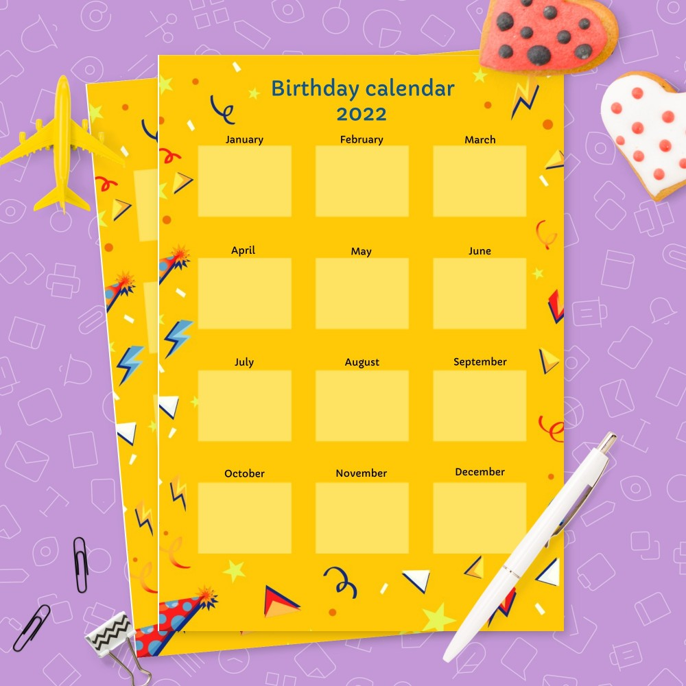 Download Printable Colorful Yellow Birthday Calendar Template