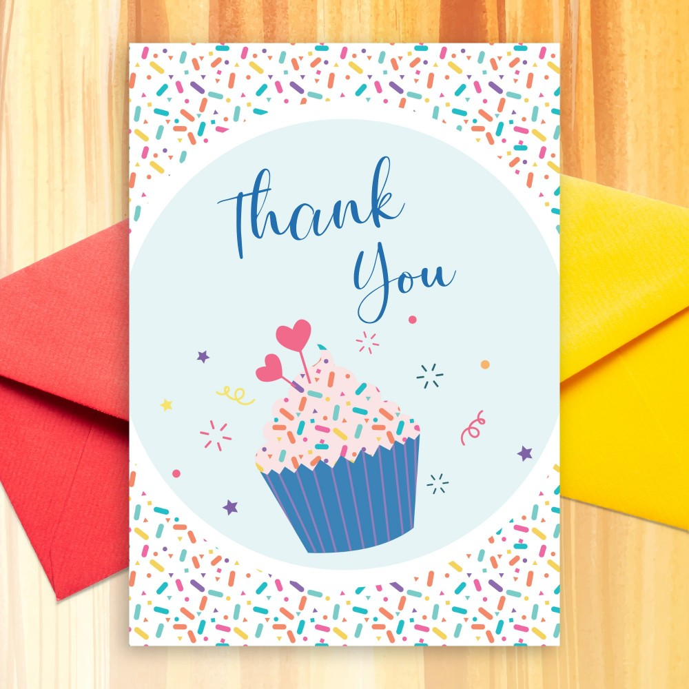 Customize and Download Confetti Muffin Birthday Thank You Card