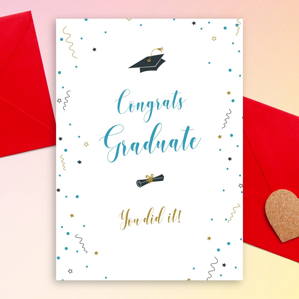 Customize and Download Confetti Stars Graduation Card