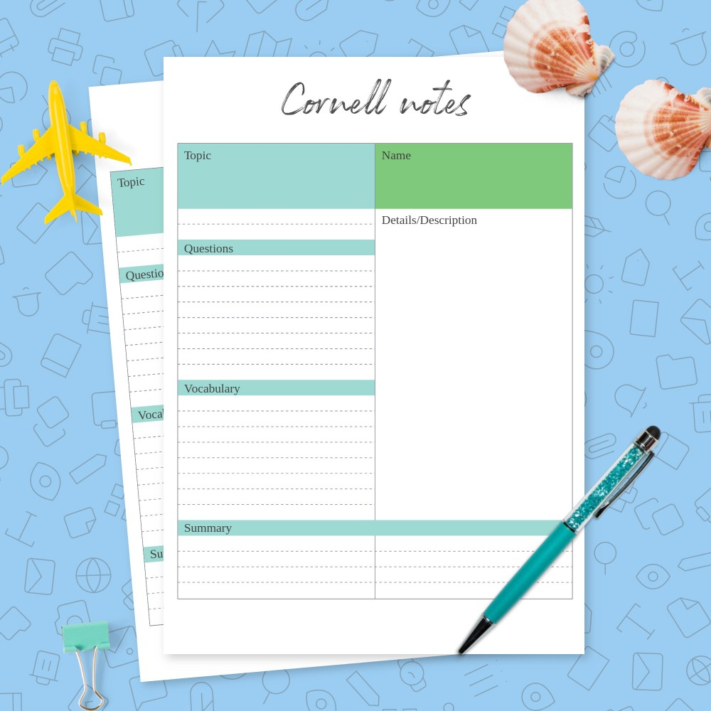 Download Printable Cool Cornell Notes Template Template