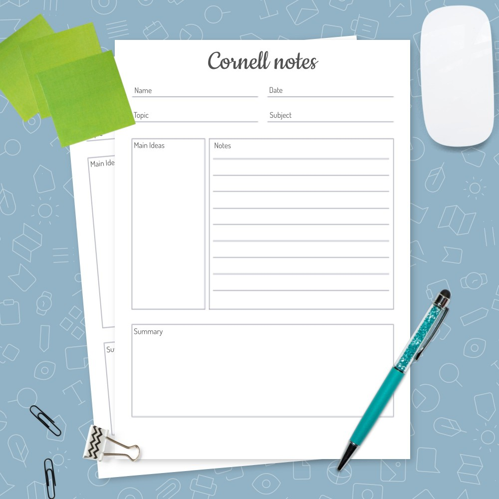 Download Printable Cornell Notes Method Template Template