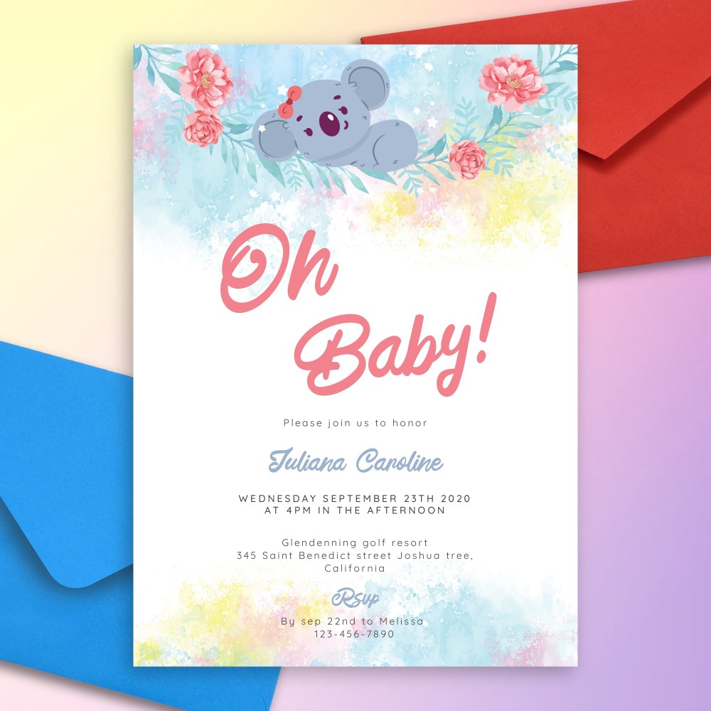 Customize and Download Cute Koala Baby Shower Invitation