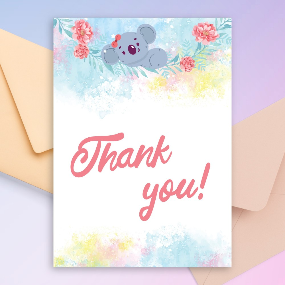 Customize and Download Cute Koala Baby Shower Thank You Card