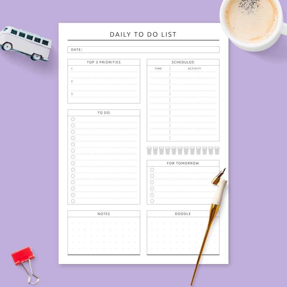Download Printable Daily To Do List - Formal with Notes Template