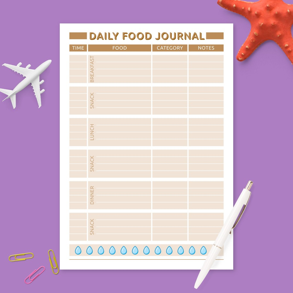 Download Printable Daily Food Organizer Template
