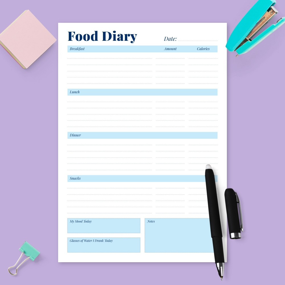 Download Printable Daily Food Tracker Template