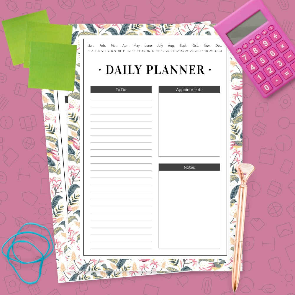 Download Printable Daily Hourly Schedule - Tropical Template