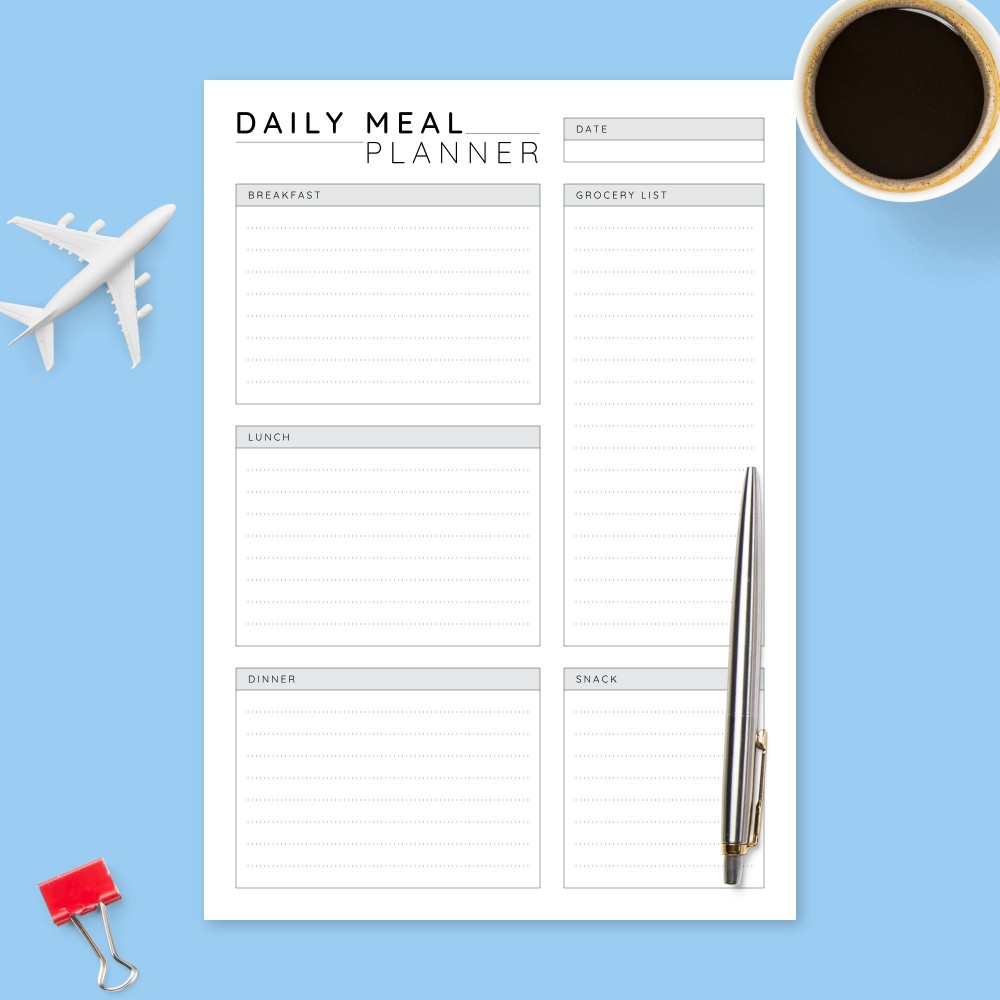 Download Printable Daily Menu Planner Template