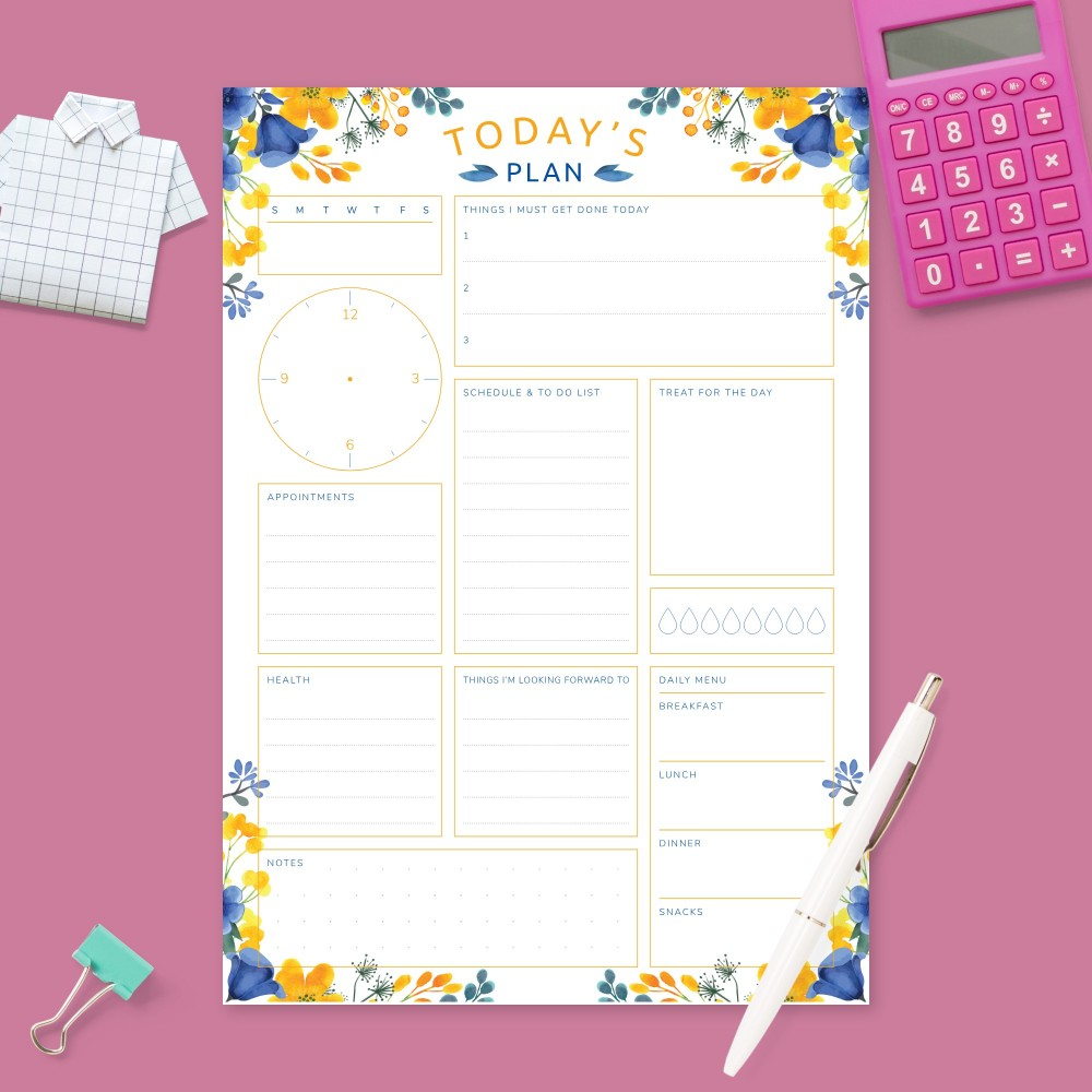 Download Printable Daily Planner - Blue and Yellow Flowers Template