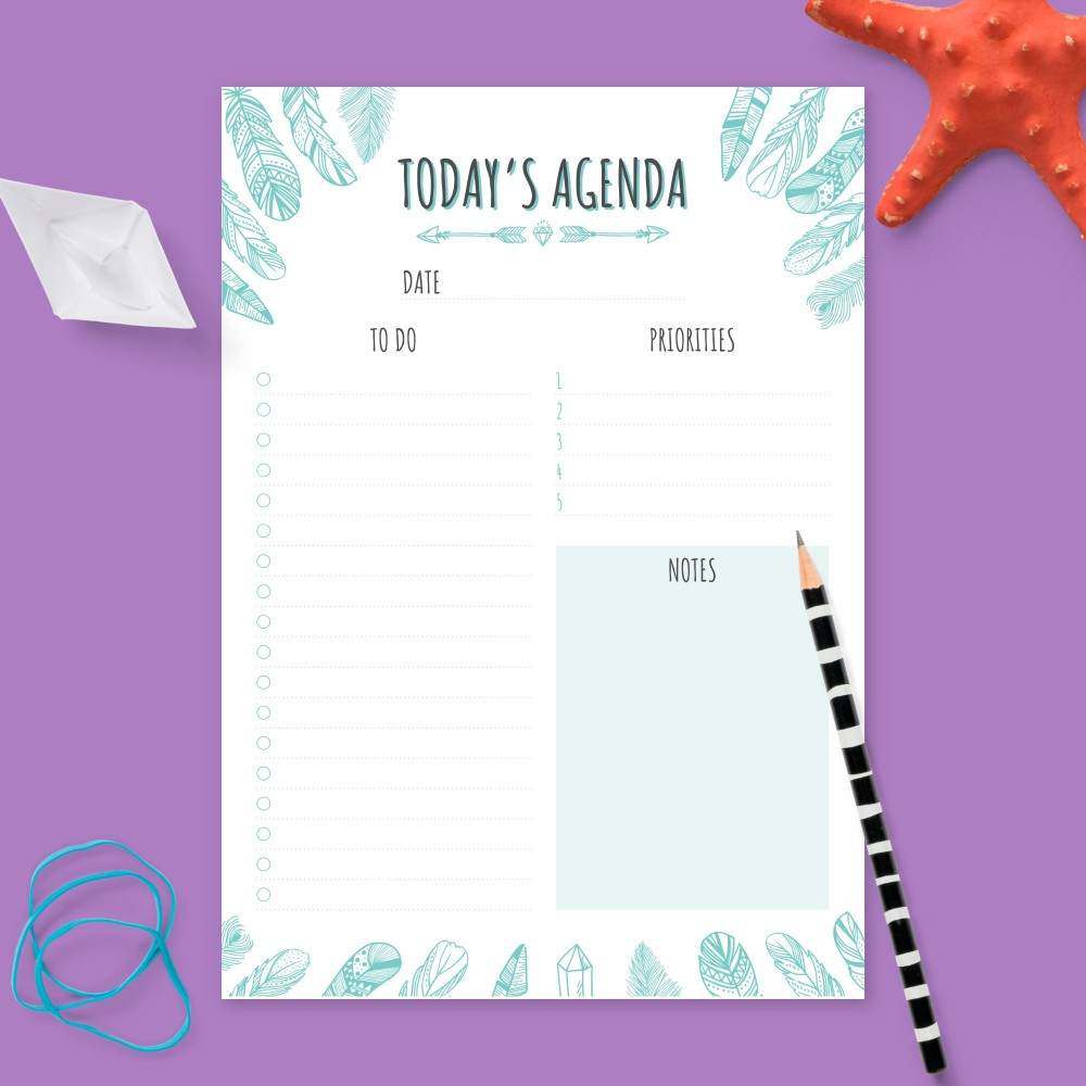 Download Printable Daily Planner - Boho Feathers Template