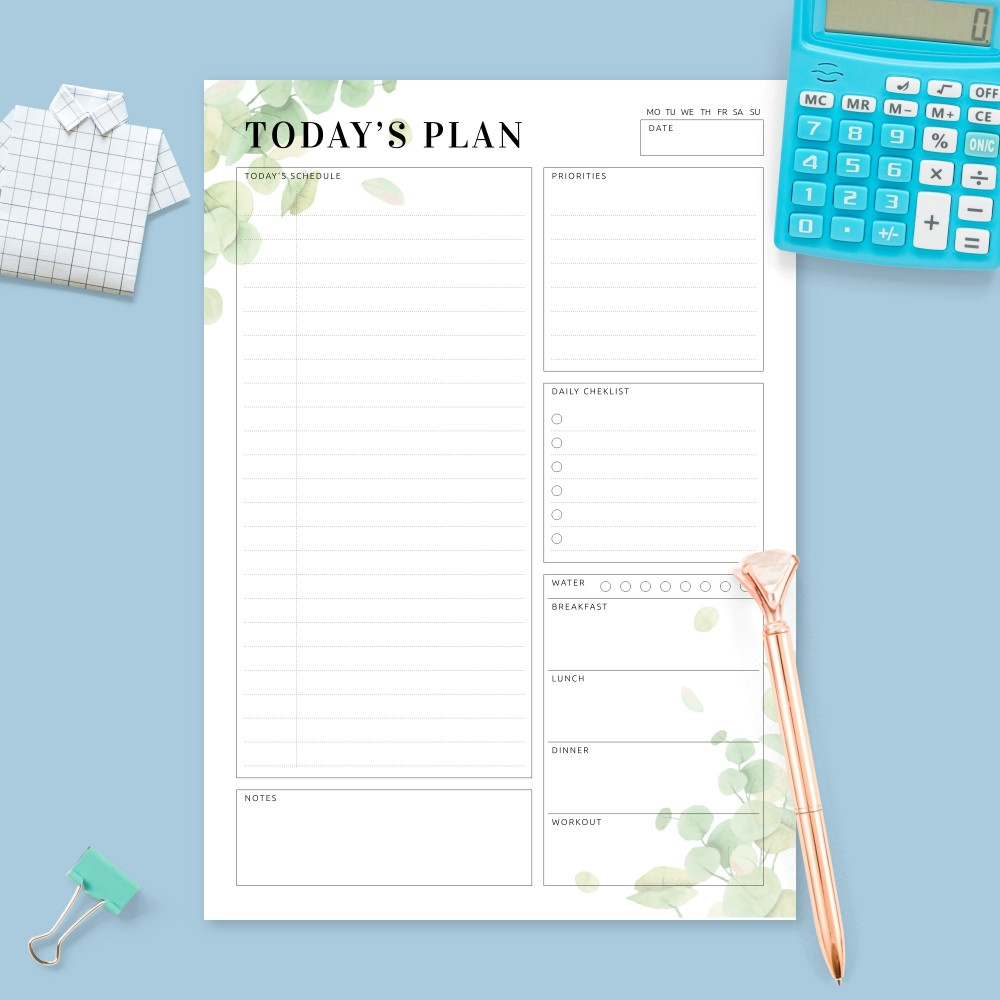 Download Printable Daily Planner - Eucalyptus Greenery Template