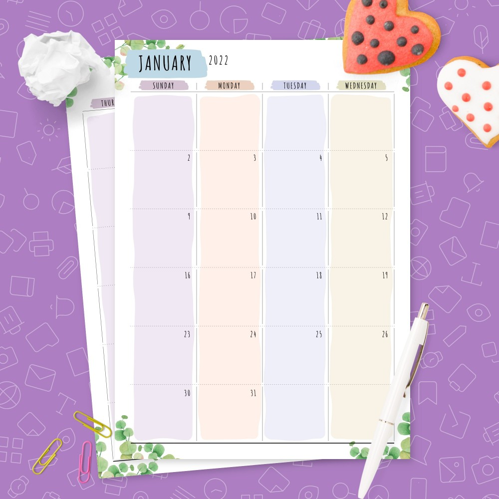 Download Printable Dated Monthly Calendar Botanical Design Template