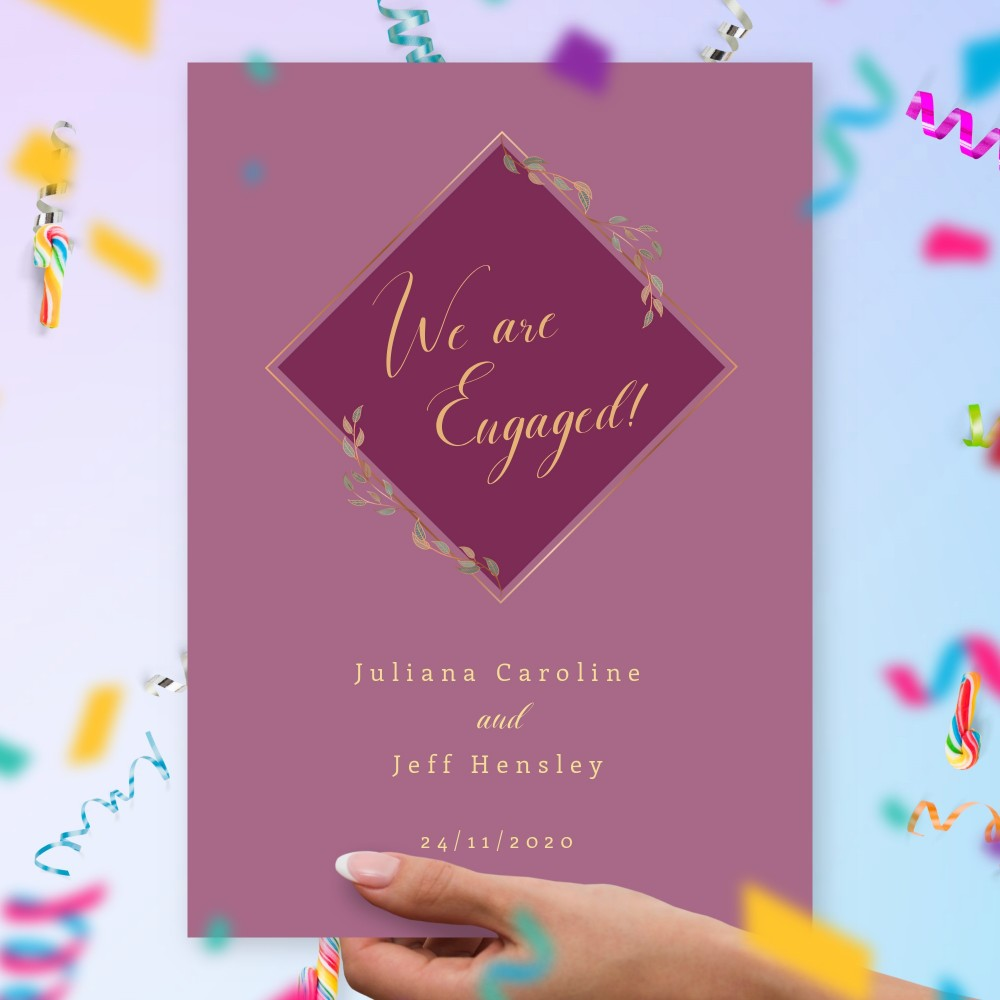 Customize and Download Deep Violet Geometric Engagement Announcement Card