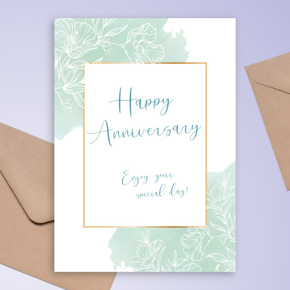 Customize and Download Delicate Blue Floral Anniversary Card