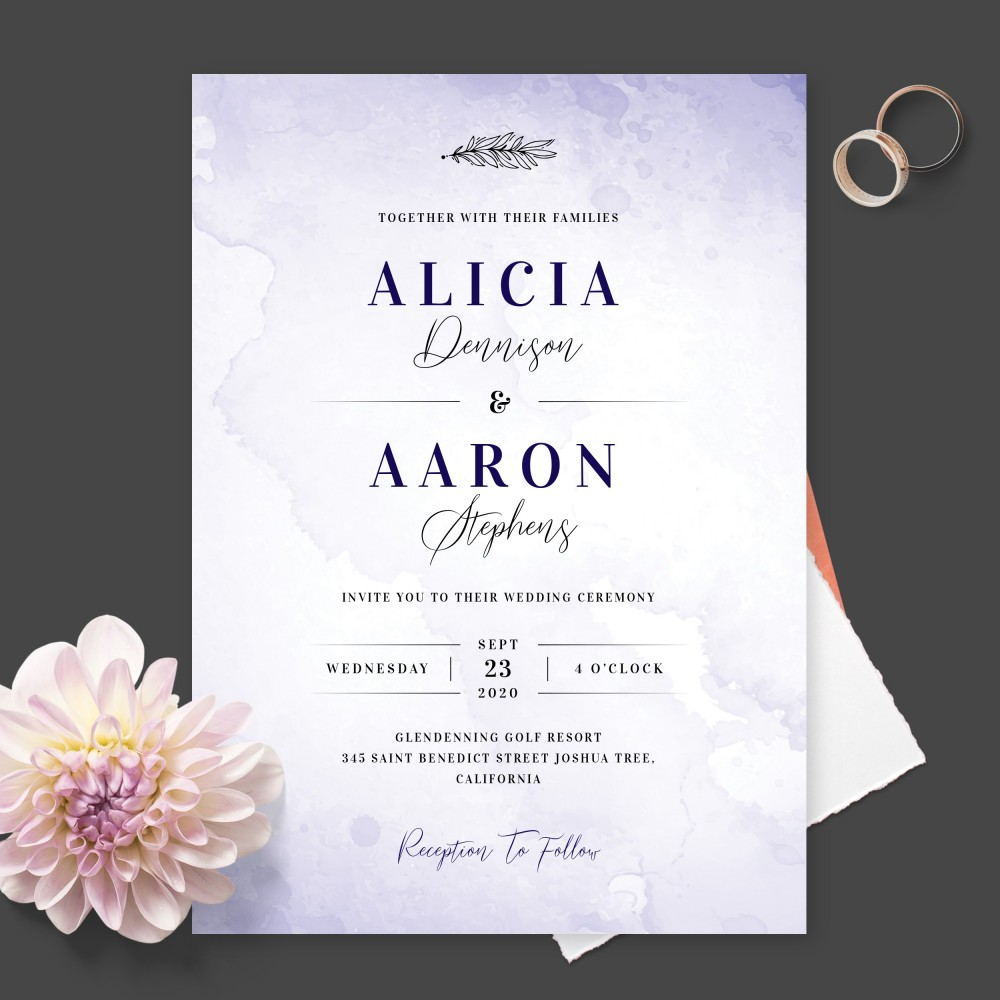 Customize and Download Delicate Blue Watercolor Wedding Invitation