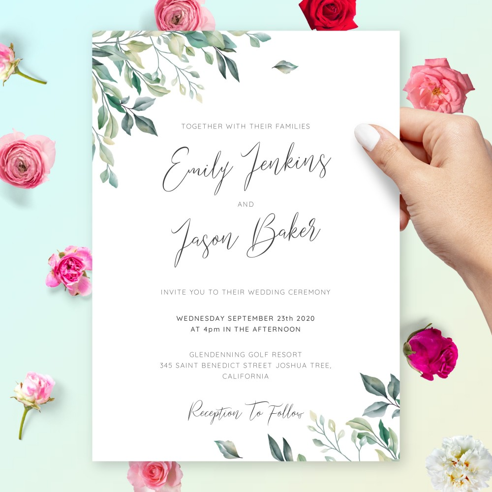 Customize and Download Delicate Greenery Botanical Wedding Invitation