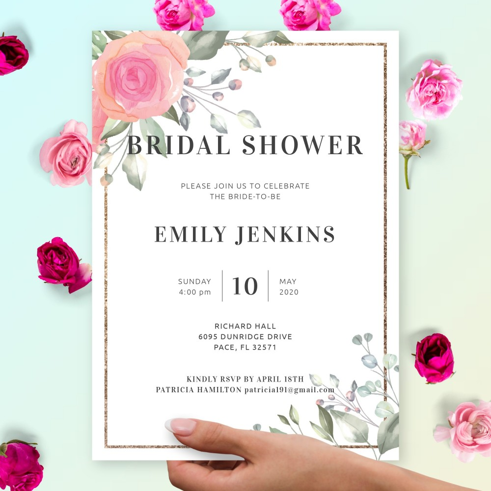 Customize and Download Delicate Rose Bouquet Bridal Shower Invitation