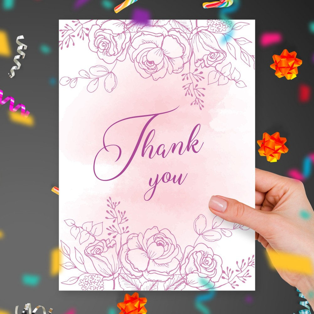 Customize and Download Delicate Roses Bouquet Thank You Card