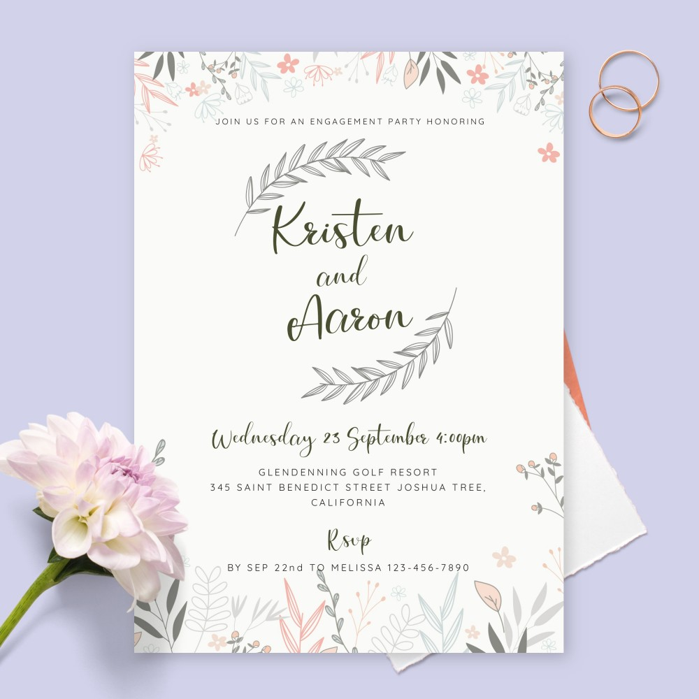 Customize and Download Delicate Rustic Floral Engagement Party Invitation
