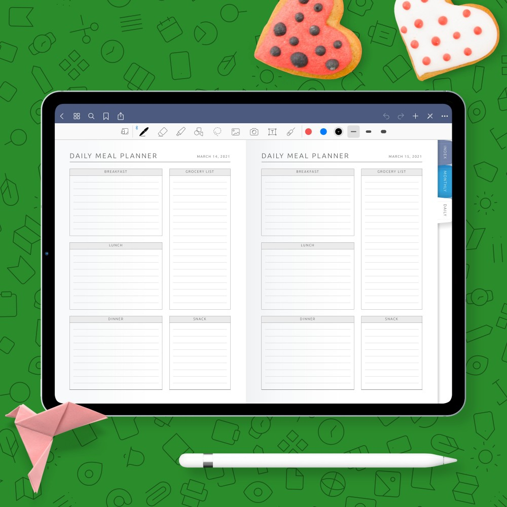 Download Digital Daily Meal Planner for GoodNotes, Notability