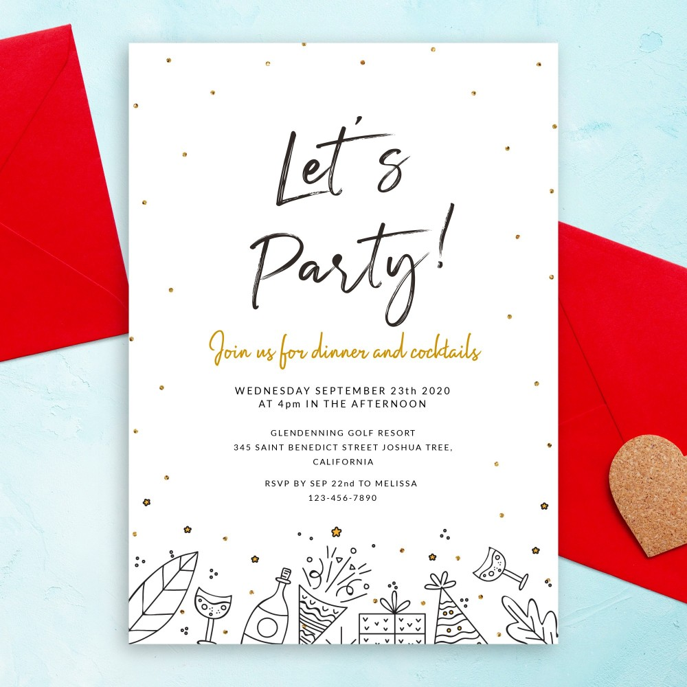 Customize and Download Dinner and Cocktails Party Invitation