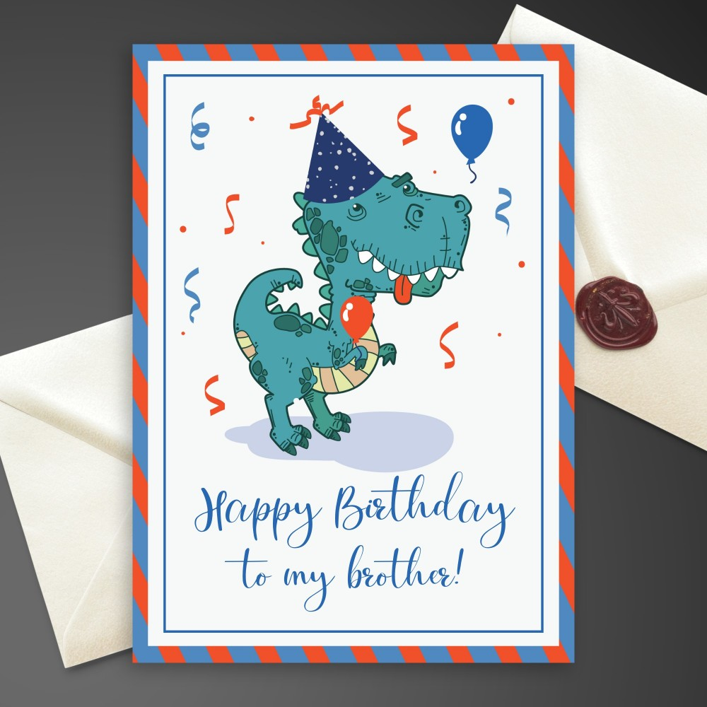 Customize and Download Dino Birthday Card For Brother