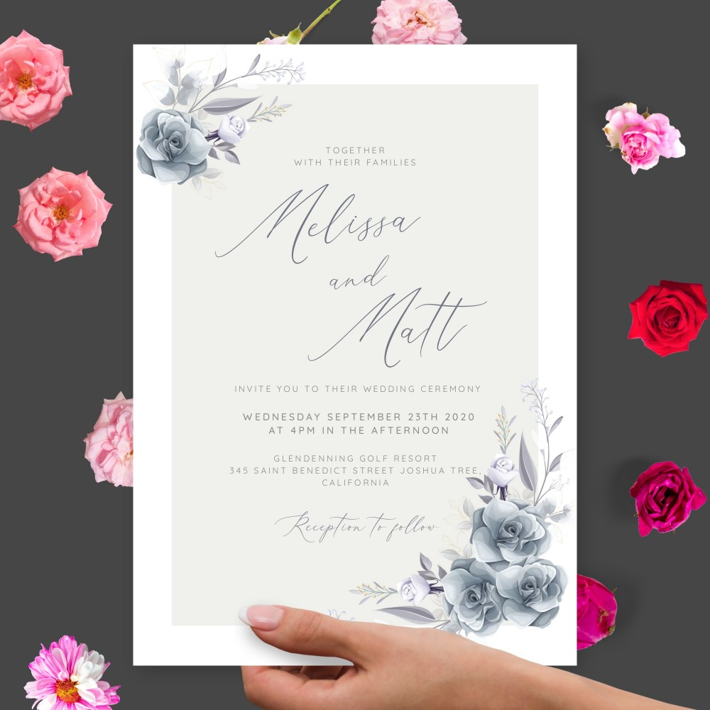 Customize and Download Dusty Winter Roses Wedding Invitation