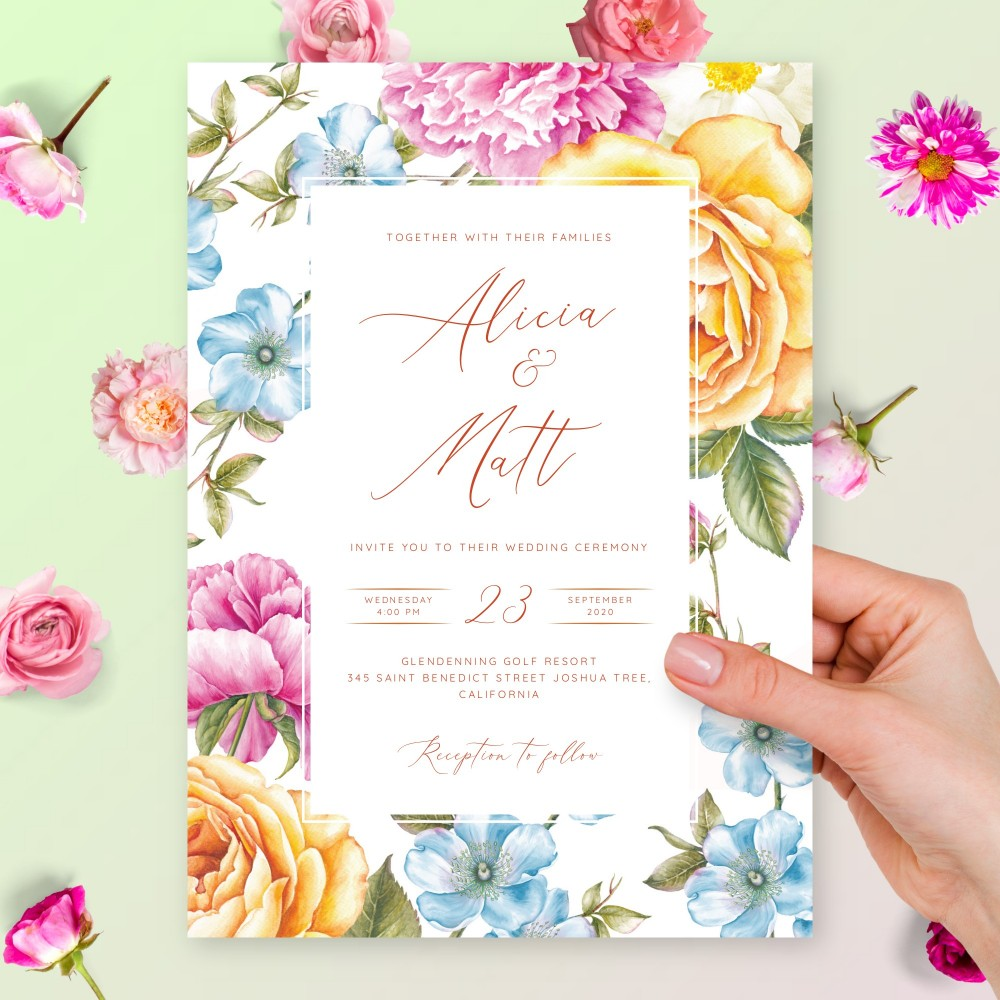 Customize and Download Elegant Aquarelle Floral Wedding Invitation