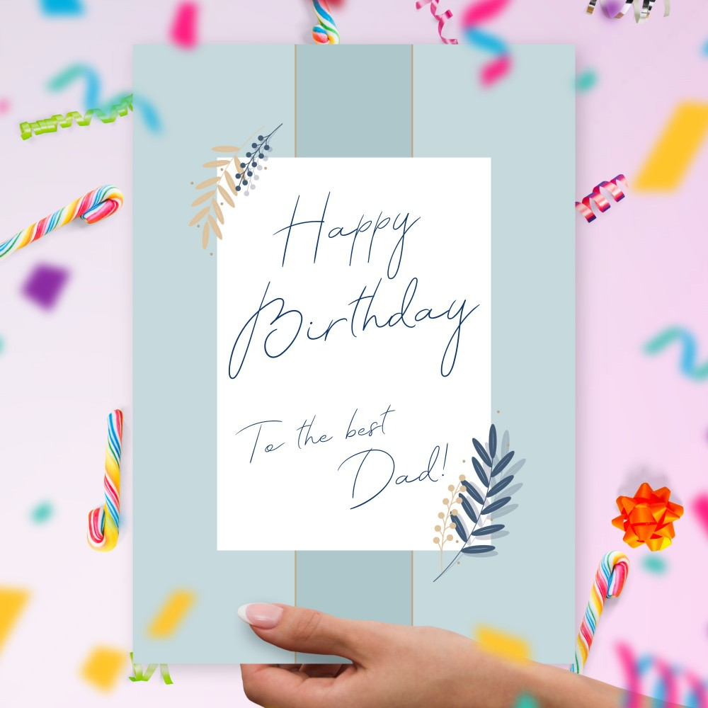 Customize and Download Elegant Blue Dad's Birthday Card
