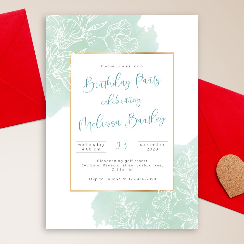 Customize and Download Elegant Blue Floral Birthday Invitation