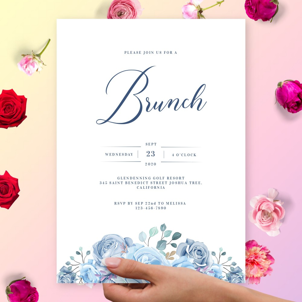 Customize and Download Elegant Blue Floral Brunch Invitation