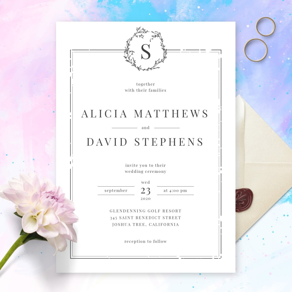 Customize and Download Elegant Borders Black and White Minimalist Wedding Invitation