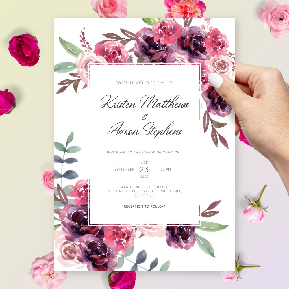 Customize and Download Elegant Burgundy Floral Wedding Invitation
