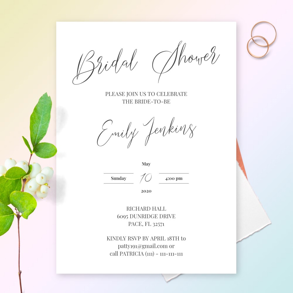 Customize and Download Elegant Calligraphy Classic Bridal Shower Invitation