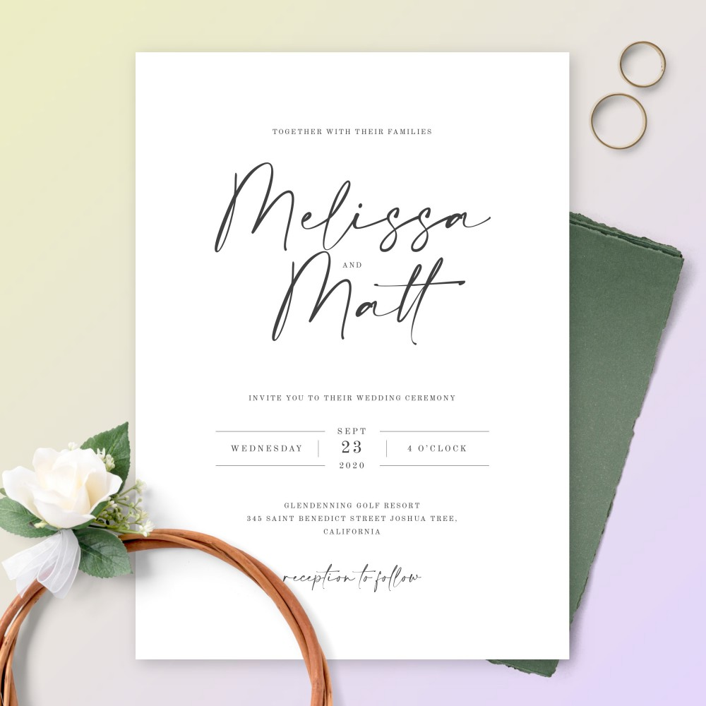 Elegant Wedding Invitations - Customize & Print or Download