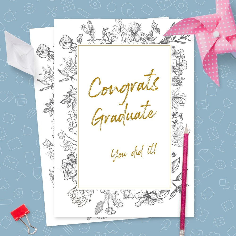 Customize and Download Elegant Floral Black and White Graduation Card