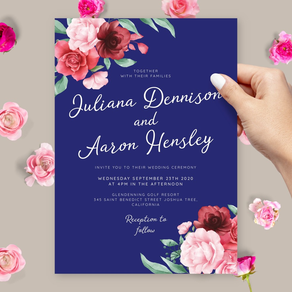 Customize and Download Elegant Floral Blue Background Wedding Invitation