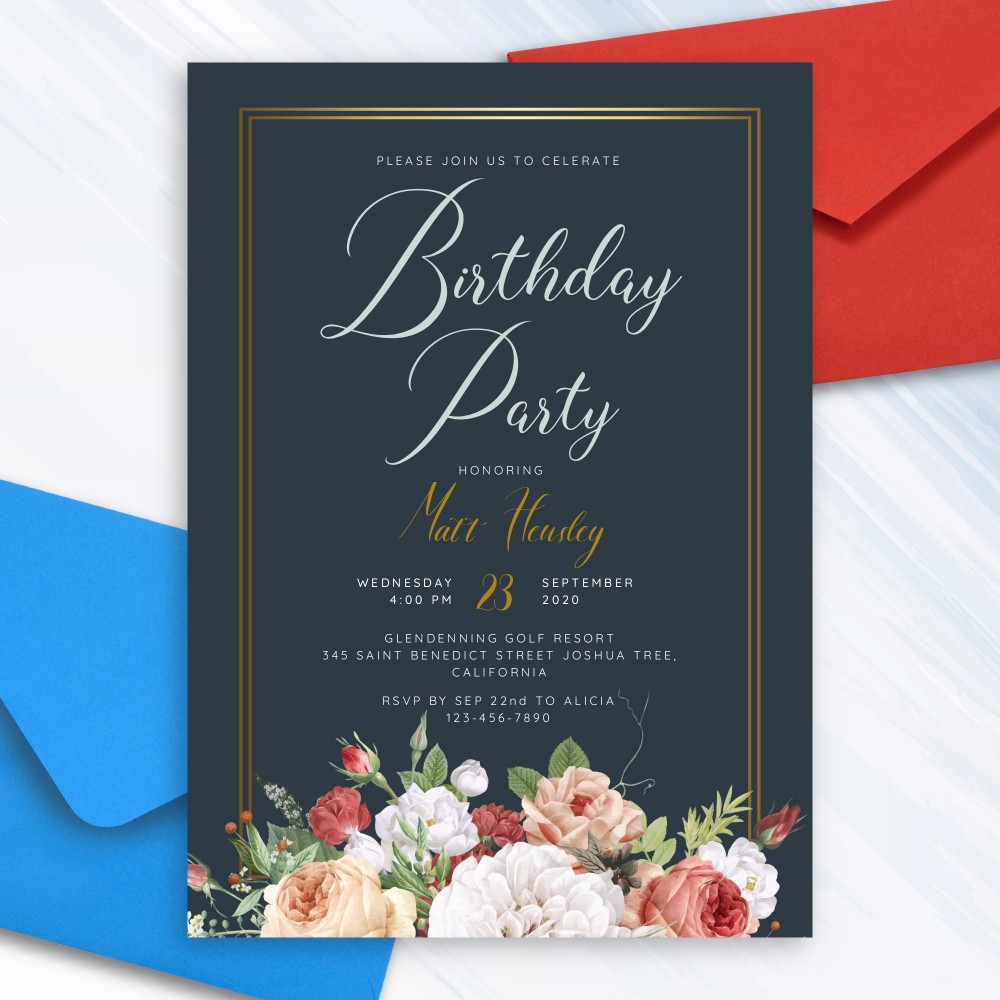 Customize and Download Elegant Floral Bouquet Black Birthday Invitation