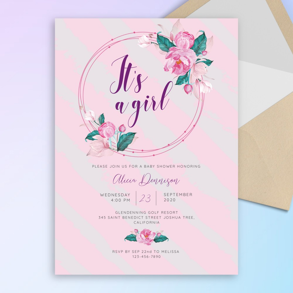 Customize and Download Elegant Floral Wreath Baby Shower Invitation
