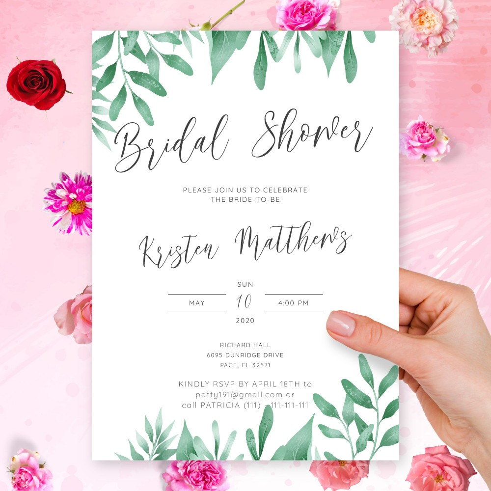 Customize and Download Elegant Greenery Bridal Shower Invitation