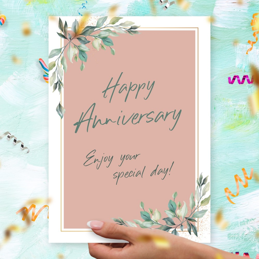 Customize and Download Elegant Greenery Pink Anniversary Card