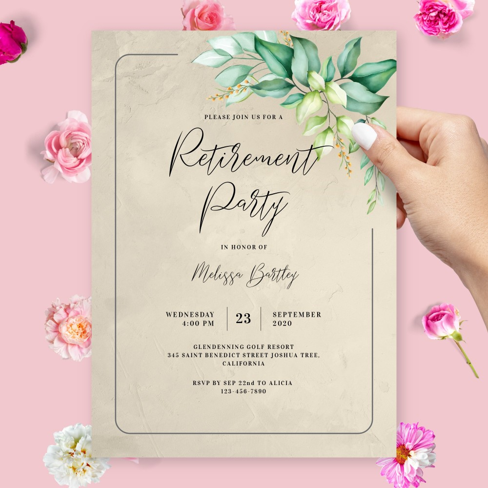 Customize and Download Elegant Greenery Retirement Party Invitation