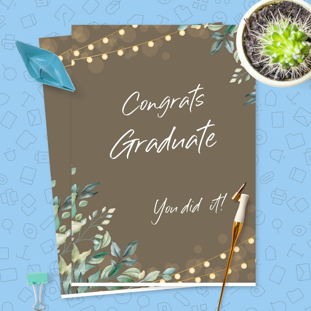 Customize and Download Elegant String Lights Graduation Card
