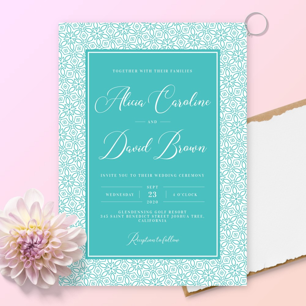 Customize and Download Elegant Turquoise Wedding Invitation